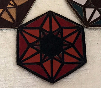 Merkaba/6-Pointed Star Patch: Reds with Brown