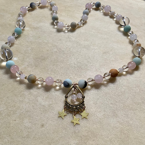Rose and Clear Quartz with Amazonite knotted necklace