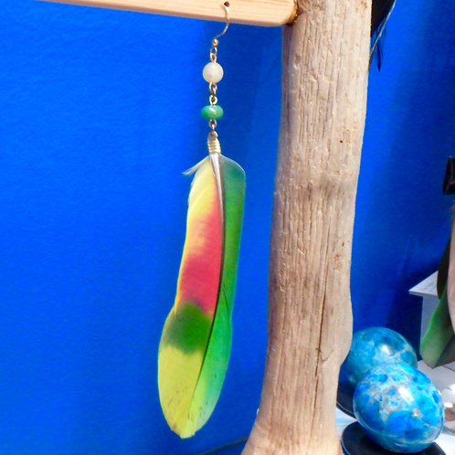 Amazon Feather Earring (SINGLE) with Chrysoprase