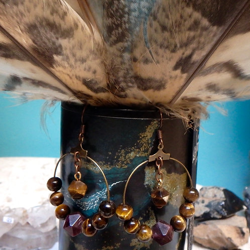 Garnet and Tigers Eye earrings