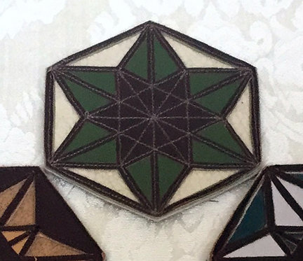 Merkaba/6-Pointed Star Patch: Cream with Green