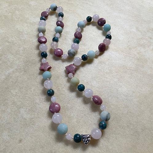 Rose Quartz Rhodonite Amazonite Apatite knotted necklace