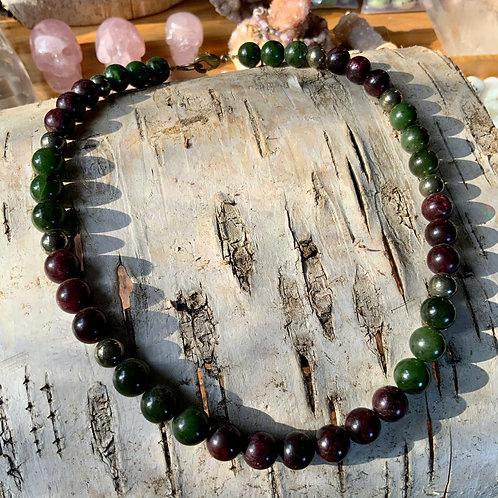 Garnet Pyrite and Jade necklace