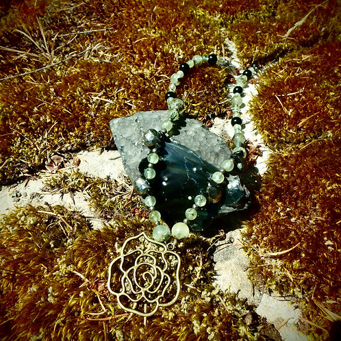 Prehnite, Pyrite, Rainbow Obsidian with Rose necklace