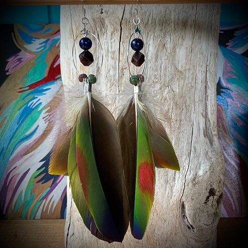 Parrot Feather Earrings with Garnet Lapis and Jasper