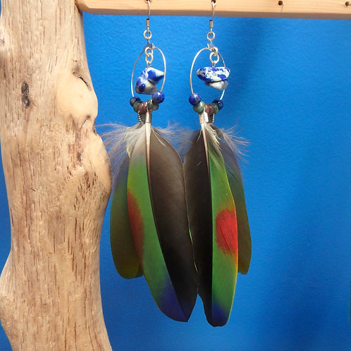 Amazon Feather Earrings with Fancy Jasper and Lapis Lazuli