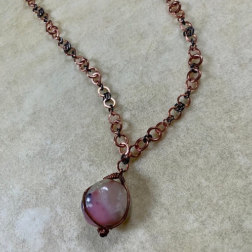 Pink Opal on Copper necklace
