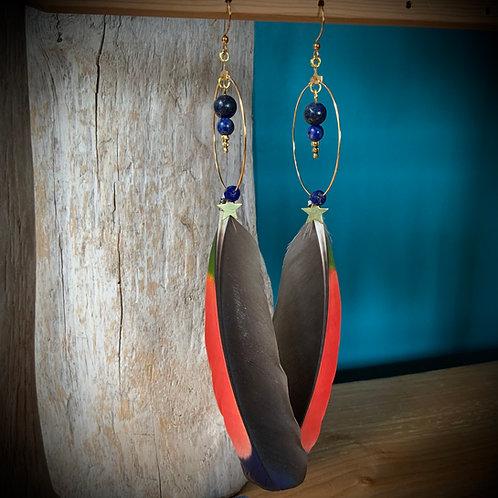 Amazon Feather Earrings with Lapis Lazuli