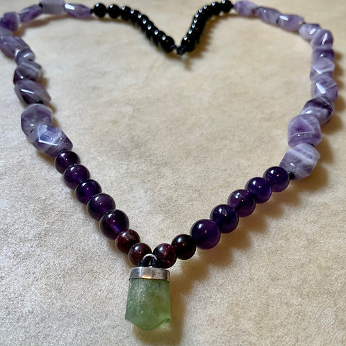 Amethyst Peridot Garnet & Rainbow Obsidian Necklace