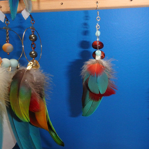 Parrot Feather Earring (SINGLE) with Red TigerEye and Larimar