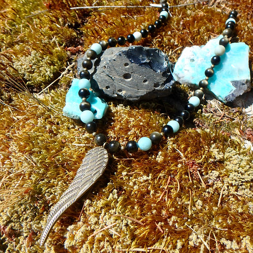 Gold-Sheen Obsidian and Amazonite with wing necklace