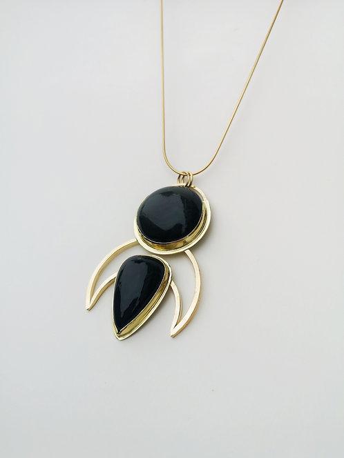 Rainbow Obsidian Brass Pendant by RUNESEED