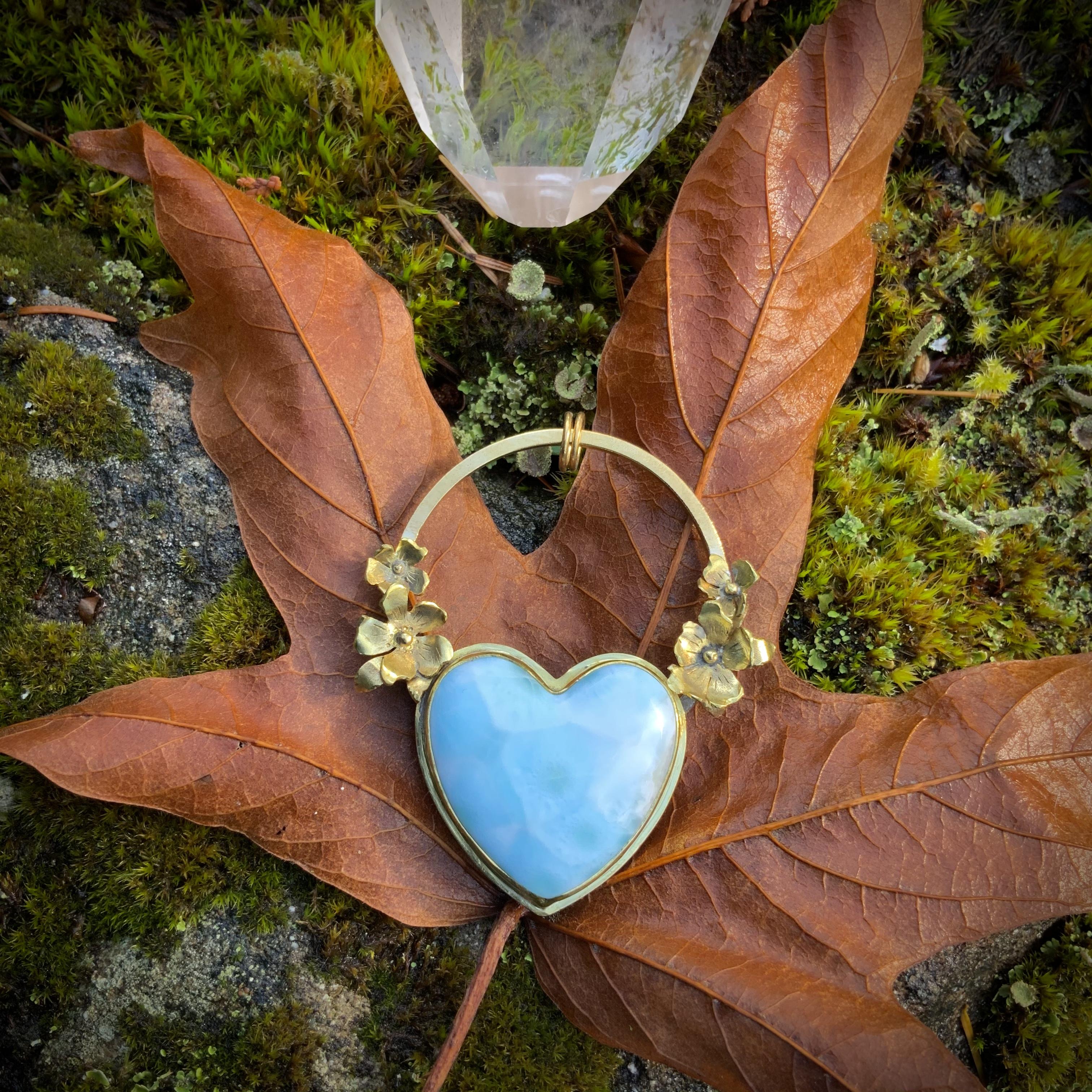 Larimar Heart RUNESEED pendant