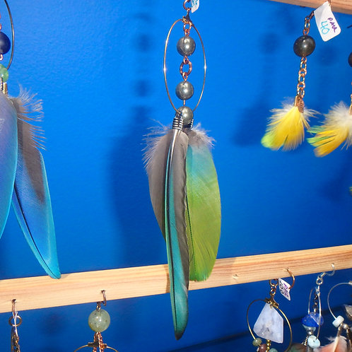 Parrot Feather Earring (SINGLE) with Pyrite