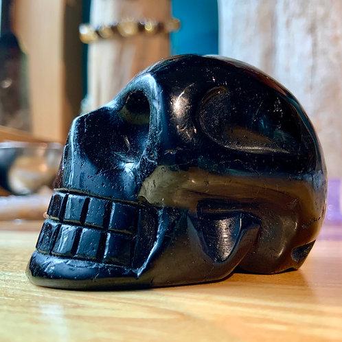 Black Tourmaline Crystal Skull