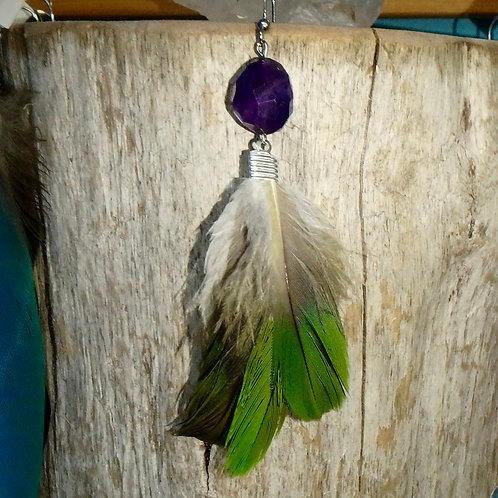Amazon Feather Earring with facetted Amethyst (SINGLE)