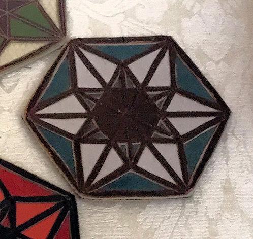 Merkaba/6-Pointed Star Patch: Violet Brown Blue