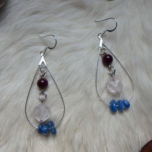 Blue Kyanite Rose Quartz and Garnet tear-shaped earrings
