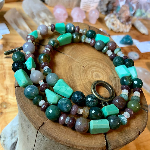 Fancy Jasper Chrysoprase Opal Necklace