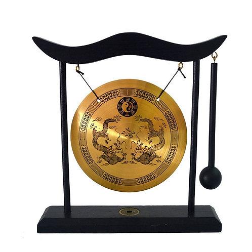 Zen Art Brass Feng Shui Desktop Gong Dragon Gong