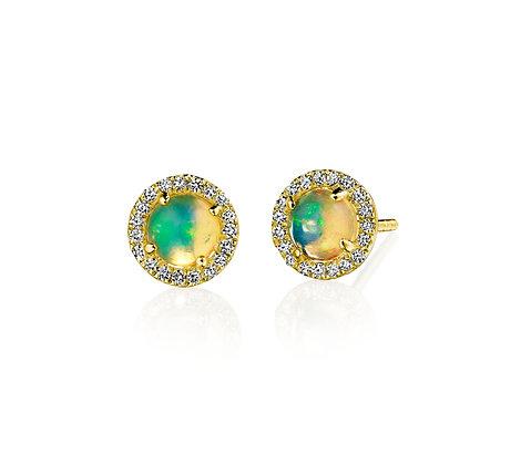 Ethiopian Opal & Diamond Earrings