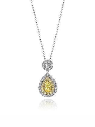 Yellow Diamond Halo Necklace