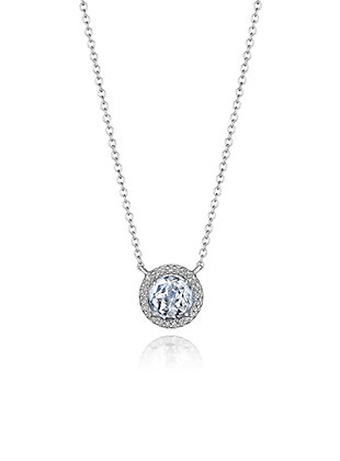 Faceted White Topaz & Diamond Necklace
