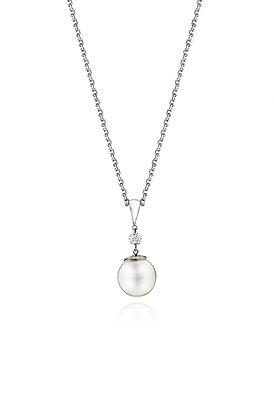 Diamond and Pearl Drop Pendant