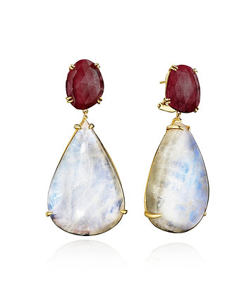 Ruby and Rainbow Moonstone Earrings
