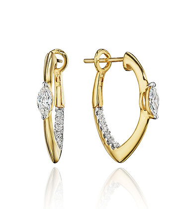 Sleek & Unique Diamond Hoops