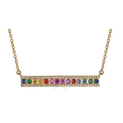 Vibrant Rainbow Sapphire & Diamond Necklace