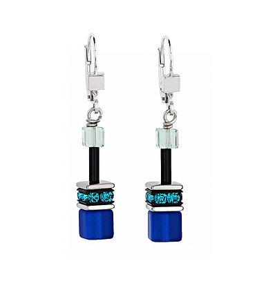 Shades of Blue Geo Cube Earrings