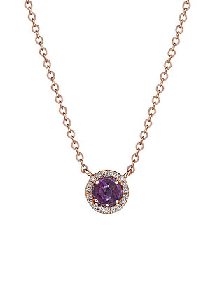 Amethyst & Diamond Halo Necklace