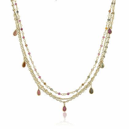 Layered Sapphire & Tourmaline Necklace