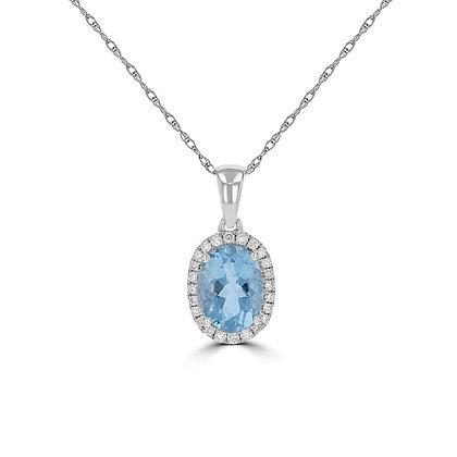Aqua Marine & Diamond Pendant