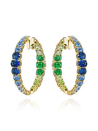 Fabulous Tsavorite, Diamond & Sapphire Earrings