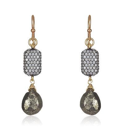Swarovski Crystal & Pyrite Earrings