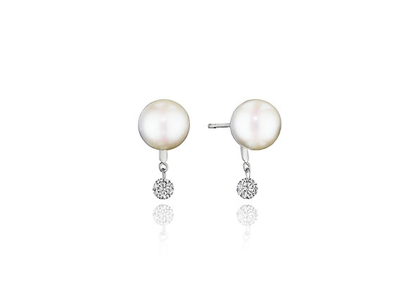 Dancing Diamond and Pearl Earrings