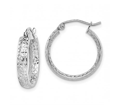 Diamond-Cut White Gold Hoops