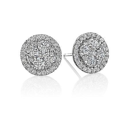 1.13ctw Diamond Cluster Earrings