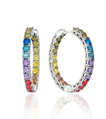 Rainbow CZ In/Out Hoops