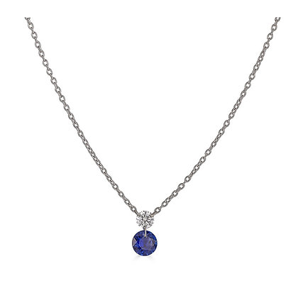 Floating Diamond and Sapphire Necklace
