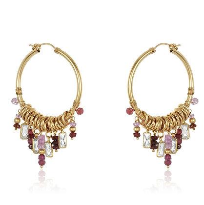 Burmese Ruby & Opal Dangles