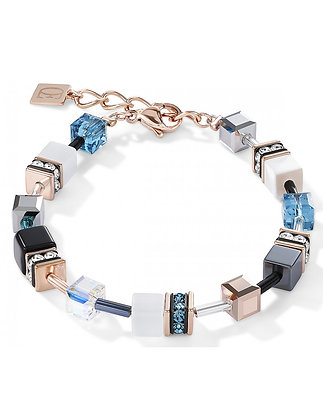 Cool Rose and Blue Tone Geo Cube Bracelet
