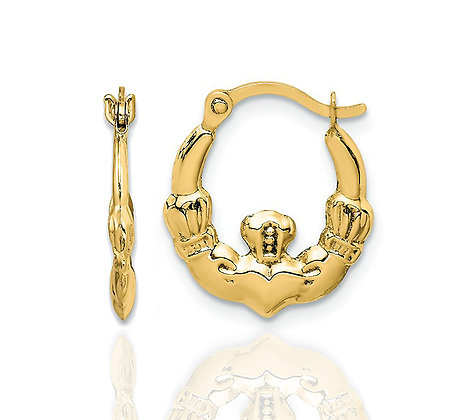 14kt Gold Claddagh Earrings