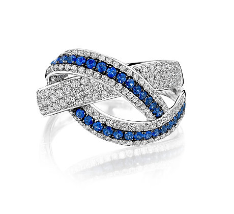 Overlapping Diamond & Sapphire Ring