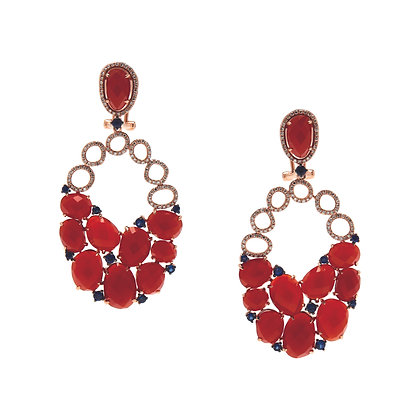 Red Agate, Diamond & Sapphire Statement Earrings