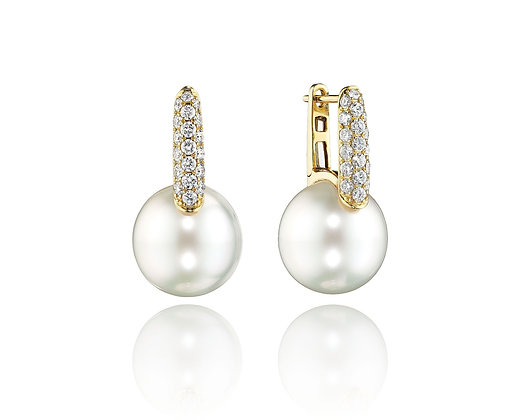 Diamond & South Sea Pearl Earrings