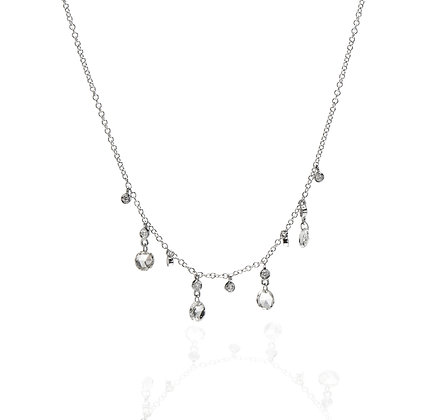 Rose Cut Diamond Dangle Necklace