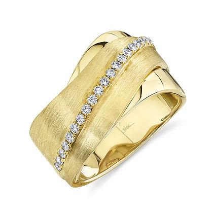 Sweeping Satin & Diamond Ring